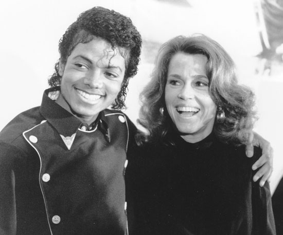 Michael shared a laugh with Jane Fonda in 1983.