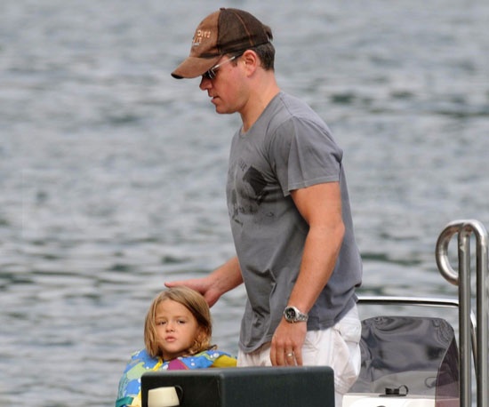 Slide Photo of Matt Damon and Isabella Outside of a Boat Dock in Lake Como