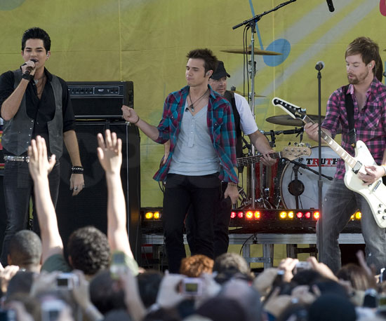 Slide Photo of Kris Allen, Adam Lambert, David Cook Performing on Good Morning America