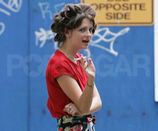 Slide Photo of Mischa Barton Smoking Cigarette in Curlers on The Beautiful Life Set