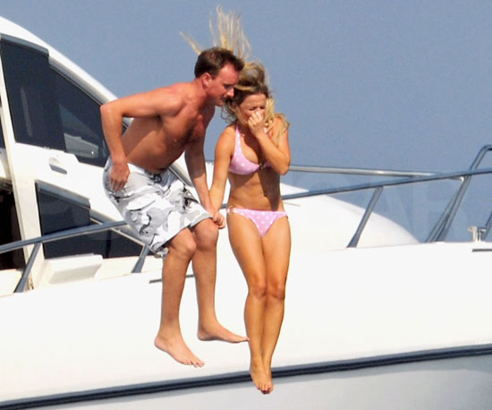 Slide Photo of Geri Halliwell in Bikini with Shirtless Henry Beckwith Jumping into Ocean
