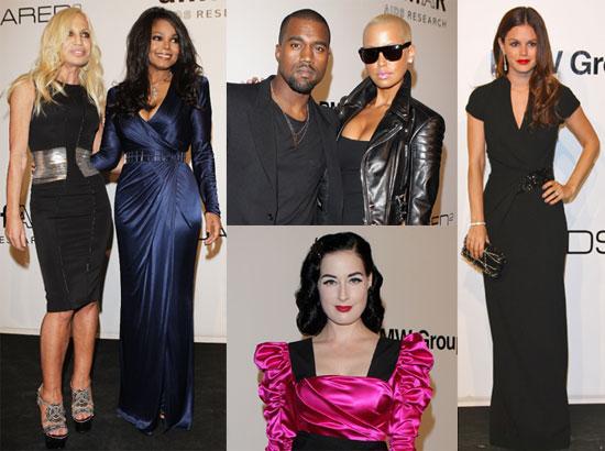 Photos of Rachel Bilson, Kanye West, Dita Von Teese, Janet Jackson, and Donatella Versace at an amfAR Dinner in Milan