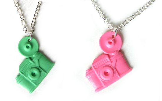 Say Cheese: Pink and Green Camera Necklaces