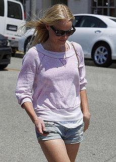 Kate Bosworth Running Errands in LA in Lavender Sweatshirt and Jean Shorts
