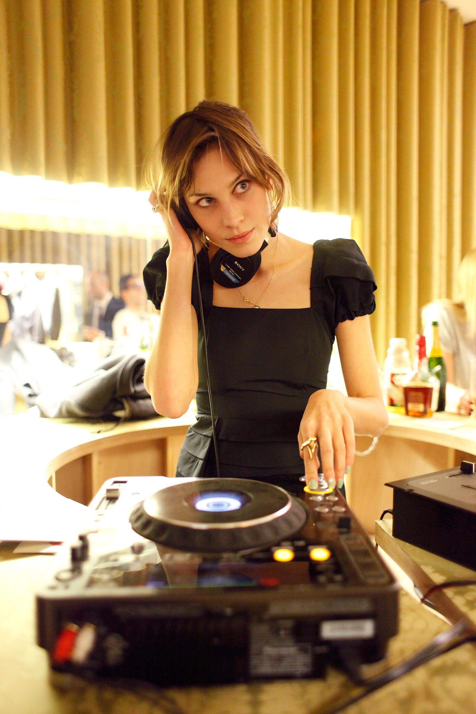 Alexa Chung DJs at Miu Miu