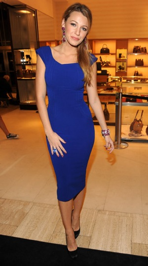 Photo of Blake Lively Wearing Cobalt Blue Victoria Beckham Dress at Saks Fifth Avenue