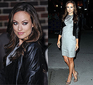 Photo of Olivia Wilde Arriving at The Late Show with David Letterman  in Gray Helmut Lang Dress and Brian Atwood Pumps