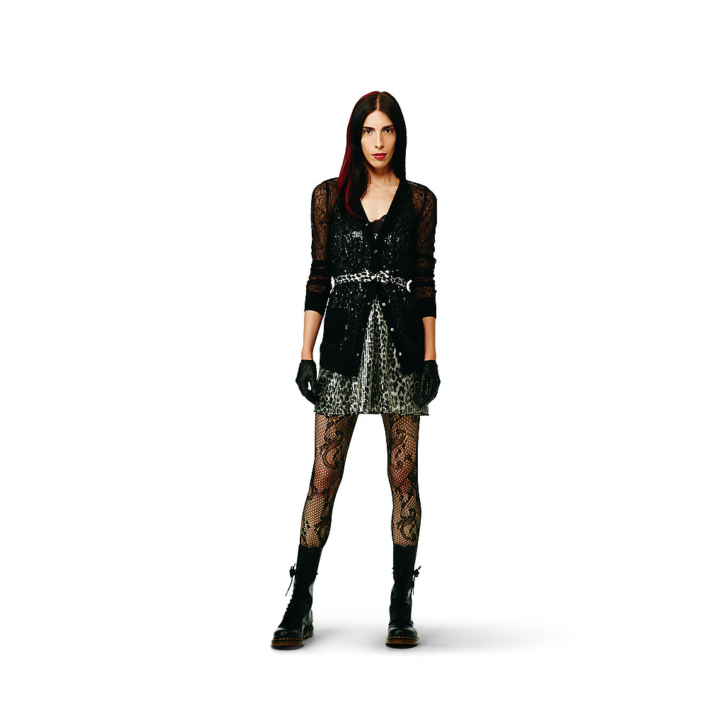Sequin Dress in gray leopard, $44.99 Lace Cardigan in black, $29.99 Bow Belt in gray leopard, $12.99 Lace Tights in black, $12.99