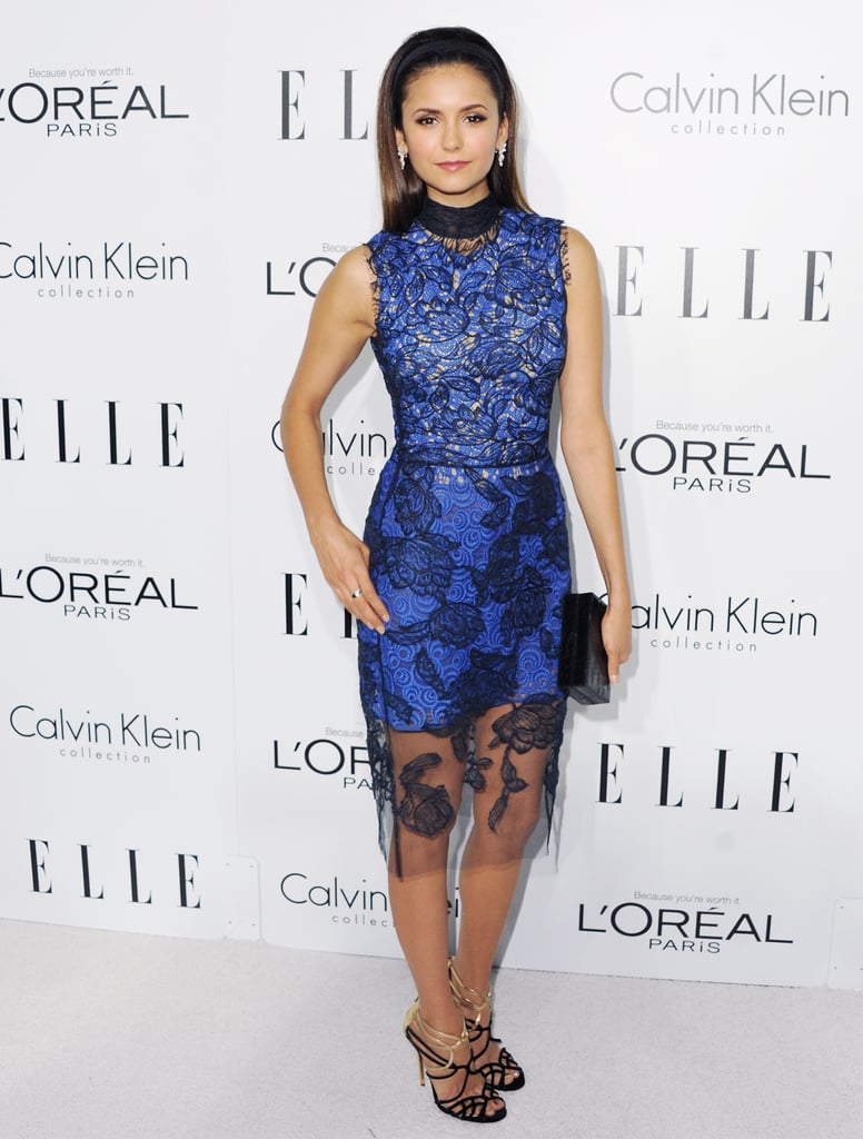 Nina went for something overtly feminine — not to mention ultraelegant — with this blue lace-covered Vera Wang number at the 19th annual Elle Women in Hollywood celebration.