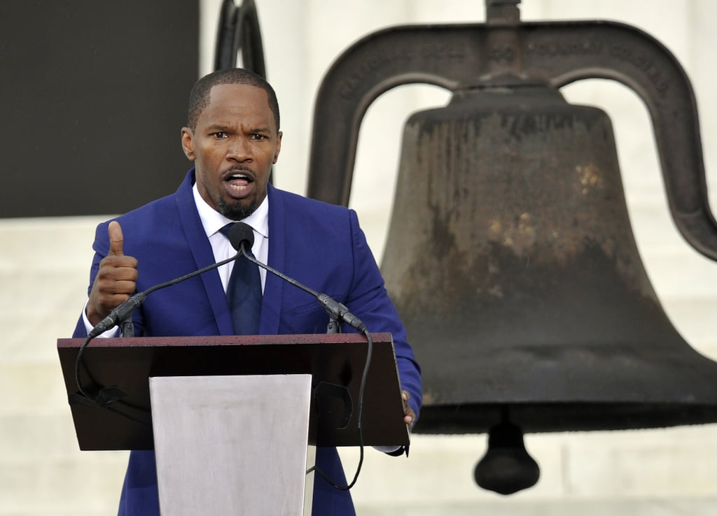 Jamie Foxx addressed the crowd during the anniversary event.