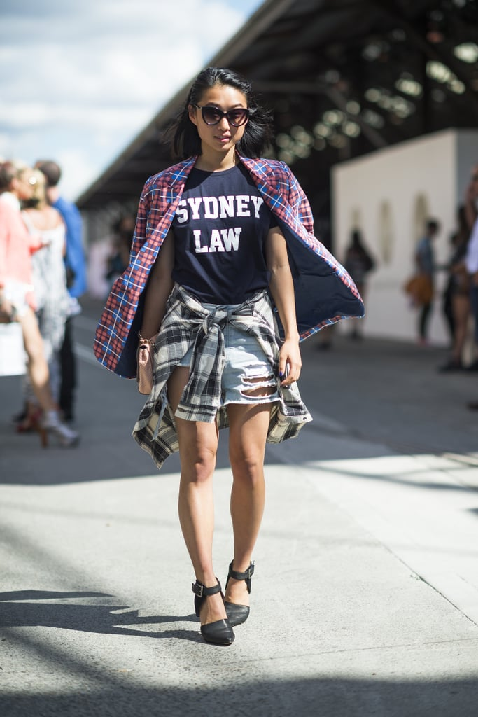 This attendee showed off the perfect t-shirt with a '90s-inspired twist. Source: Le 21ème | Adam Katz Sinding