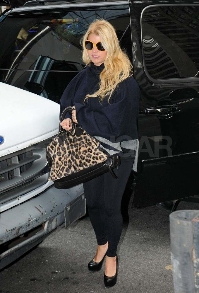 Jessica Simpson with a leopard bag in NYC.