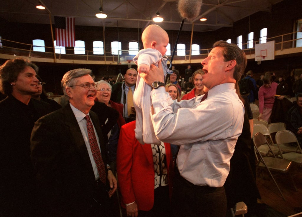 Al Gore provided some entertainment for a baby during a 2000 campaign stop in Indianola, IA.