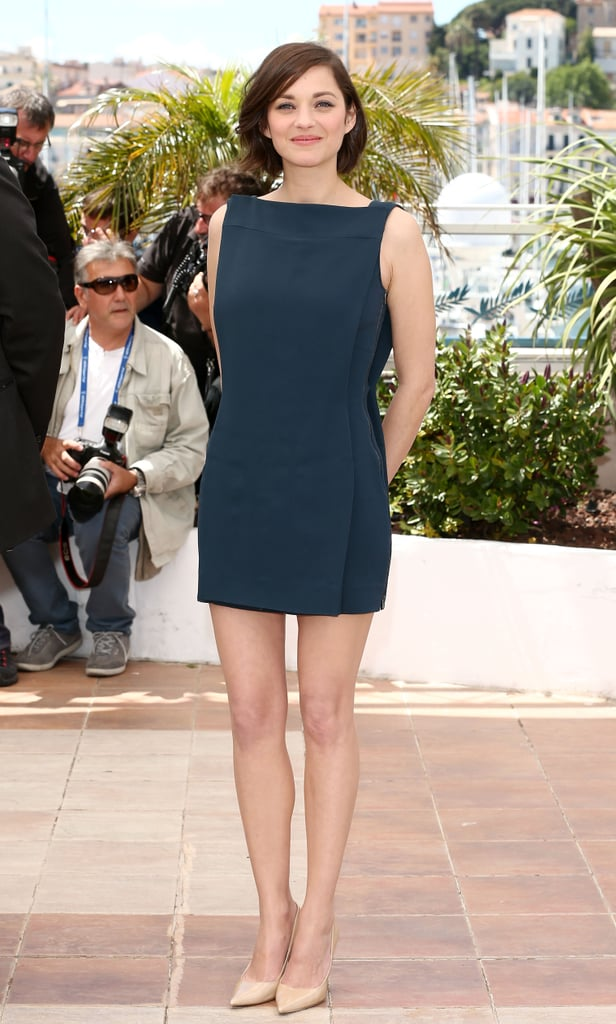 Marion Cotillard flaunted her stems in an understated Antonio Berardi minidress and a pair of leg-lengthening, classic nude pumps at the Blood Ties photocall.