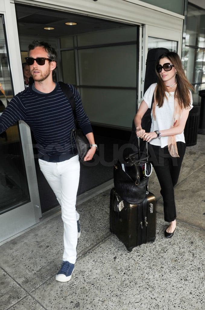Anne Hathaway and Adam Shulman returned to humid NYC.
