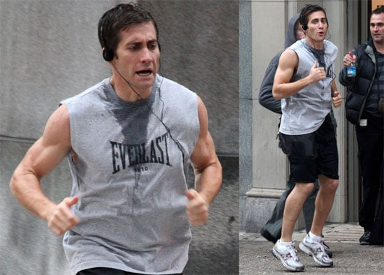 Photos of Jake Gyllenhaal Filming Love and Other Drugs in Cutoff Shirt