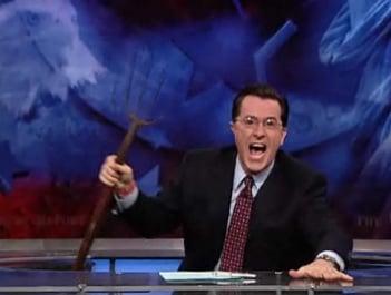 Colbert Brings Pitchfork but Obama Might Not Stop Bonuses