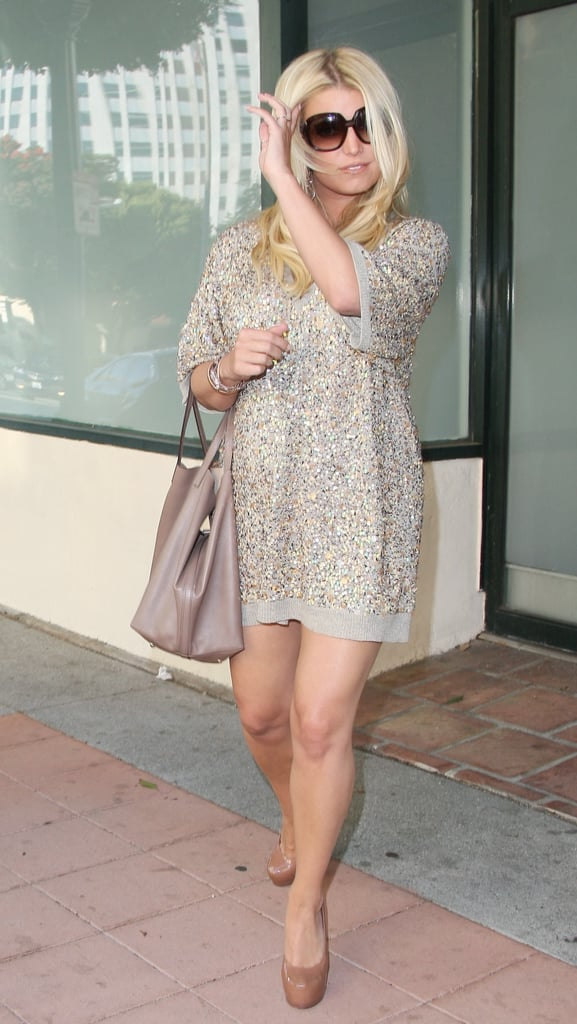 Jessica Simpson wore a sequined mini dress.