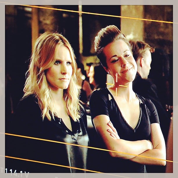 Kristen Bell and Tina Majorino (aka Mac) filmed the Neptune High reunion scene. Source: Instagram user theveronicamarsmovie