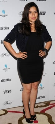 America Ferrera Wears Leather Alice and Olivia Dress
