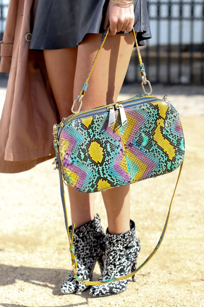 Multicolored snake-print clashed against a pair of black and white booties, in the best way possible.