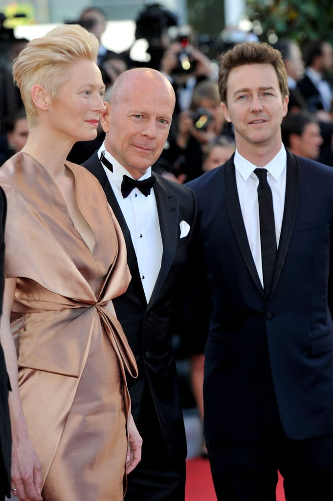 Tilda Swinton, Bruce Willis, and Edward Norton accompanied each other on the red carpet for the opening of the Cannes Film Festival and the premiere of Moonrise Kingdom.