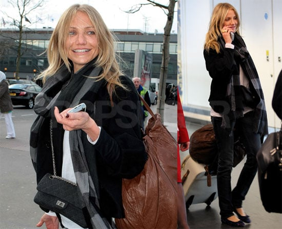 Photos of Cameron Diaz Leaving Heathrow Airport in London