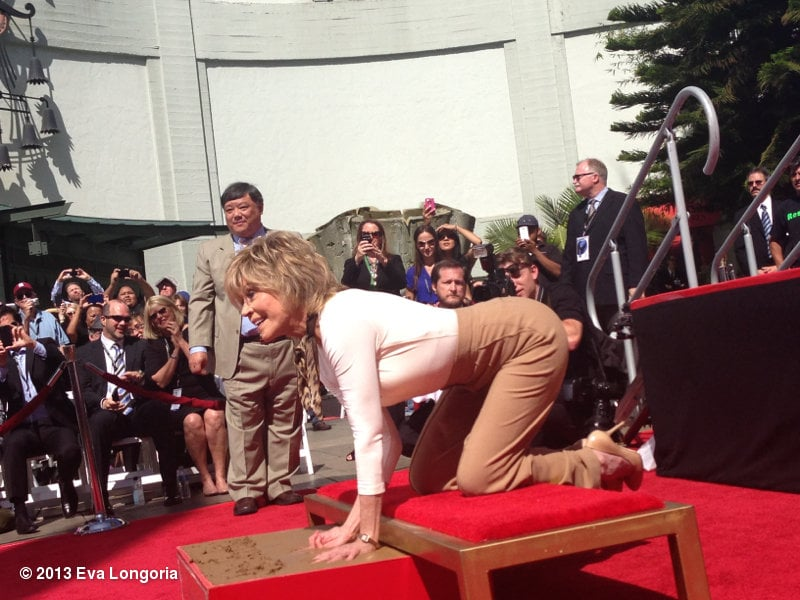 Eva Longoria snapped a photo of her friend Jane Fonda while at her Hollywood Walk of Fame hand and footprint ceremony.  Source: Eva Longoria on WhoSay