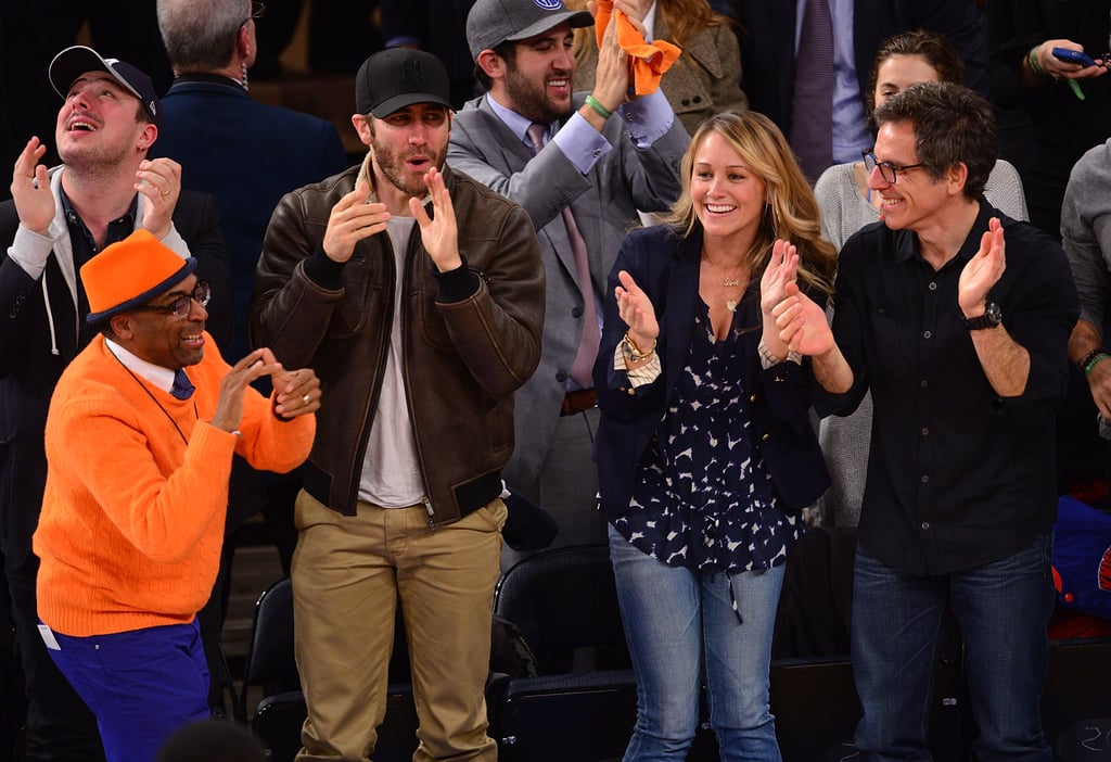 There was a star-studded cheering section for the NY Knicks in April 2013 — Spike Lee, Jake Gyllenhaal, Christine Taylor, and Ben Stiller all got together to support the team.