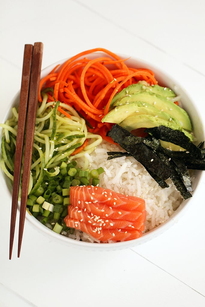 Spiralized Sushi Bowl With Salmon Sashimi and Ginger-Miso Dressing