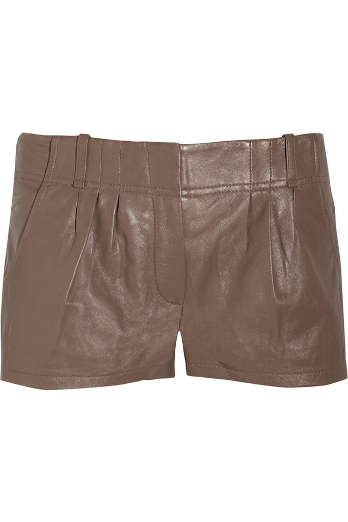 Must-Have Leather Staple After seeing Miranda Kerr style up countless chic leather separates, it's time we invest in our own versions. We think this subtly pleated pair would look equally cool with pumped-up kicks as they would with evening-worthy heels.  Vanessa Bruno Athé Pleated Leather Shorts ($142, originally $405)