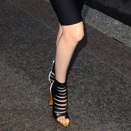 Charlize Theron Black Caged Booties
