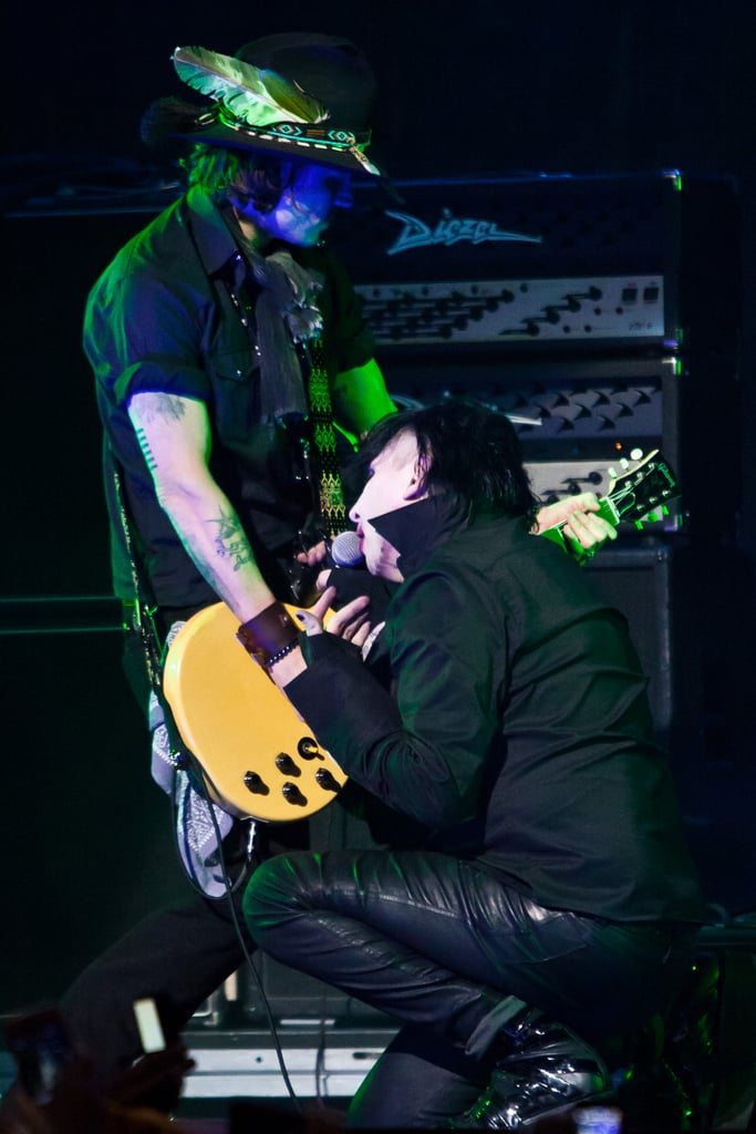 Johnny Depp gave a performance with Marilyn Manson at the Revolver Golden God Awards in LA.