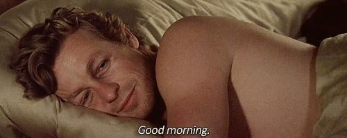 And this is what we imagine he'd look like waking up next to you in a very fancy bed.