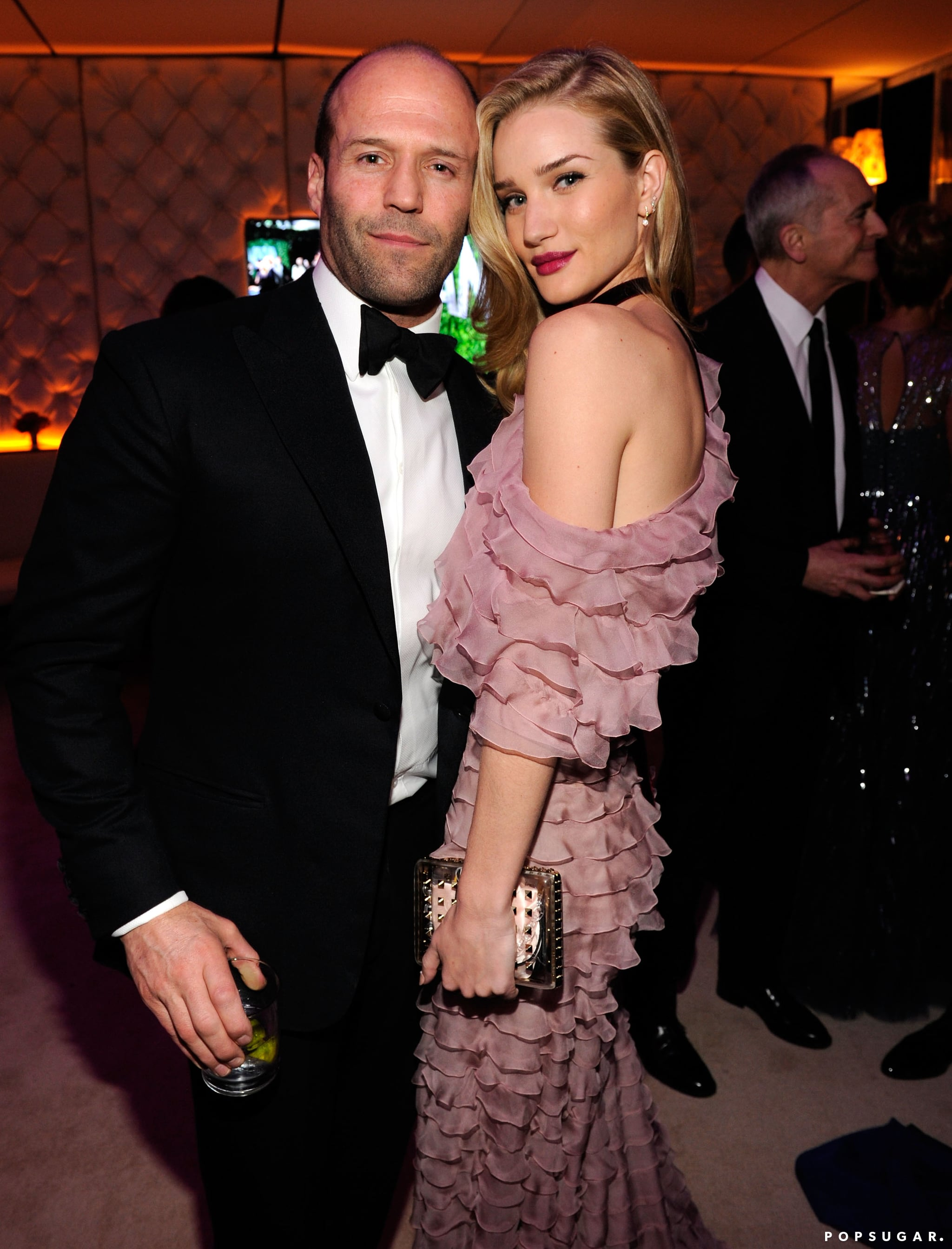 Jason Statham and Rosie Huntington-Whiteley posed for a picture inside the Vanity Fair Oscar party.
