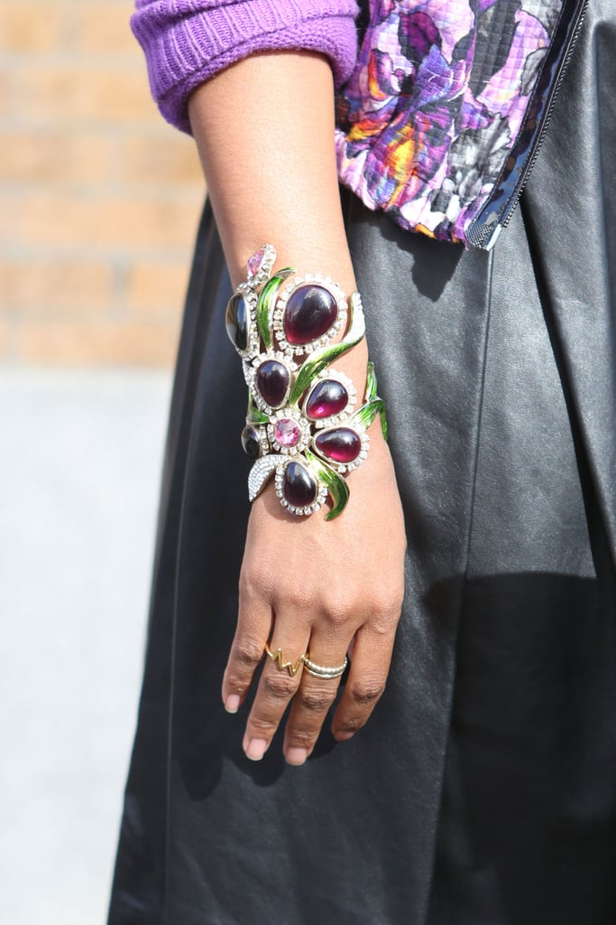Another way to add florals — on a beautifully unique, jeweled cuff.