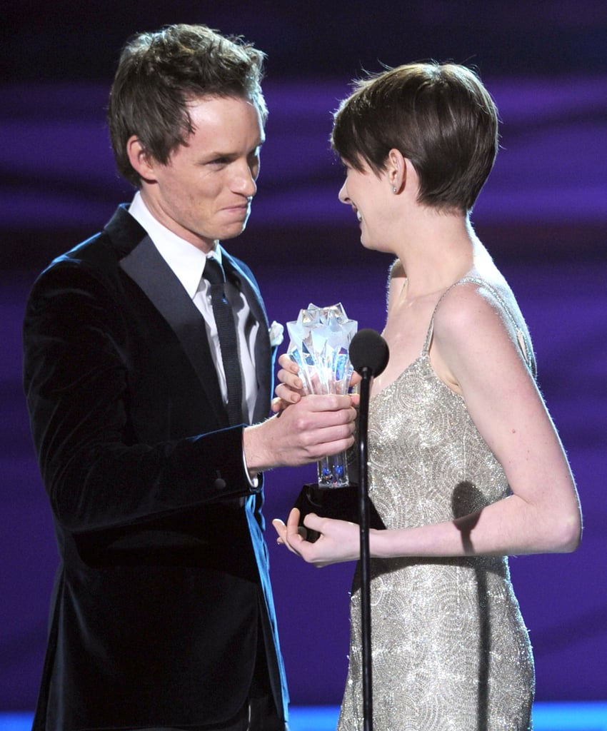 Eddie Redmayne presented Anne Hathaway with her Critics' Choice best supporting actress award.