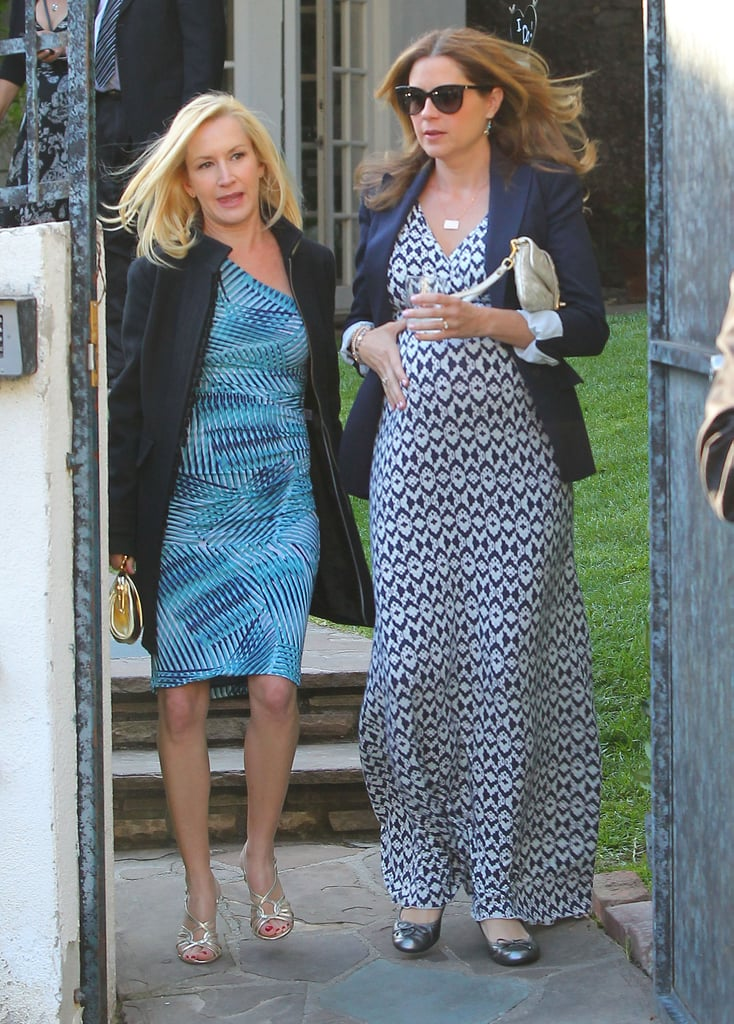 Angela Kinsey and Jenna Fischer walked together after the wedding.