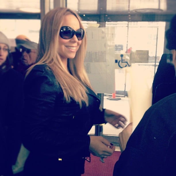 Mariah Carey waited in line to cast her vote. Source: Twitter user MariahCarey