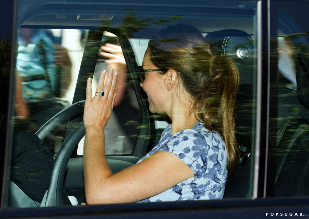 Kate Middleton sat with the royal baby in the backseat.