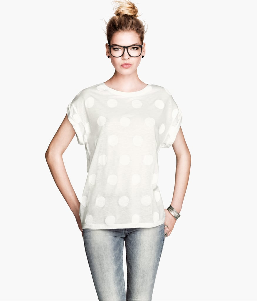 A simple white tee ($13) looks extra cute in monochromatic polka dots.