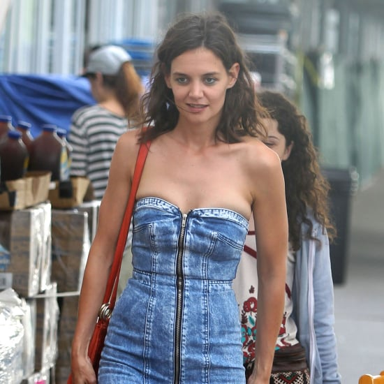 Katie Holmes Went Shopping in the Tiniest Denim Dress We've Ever Seen