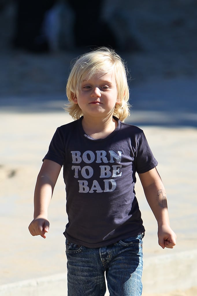 """Zuma Rossdale sported a shirt that read """"Born to be Bad"""" at the park."""