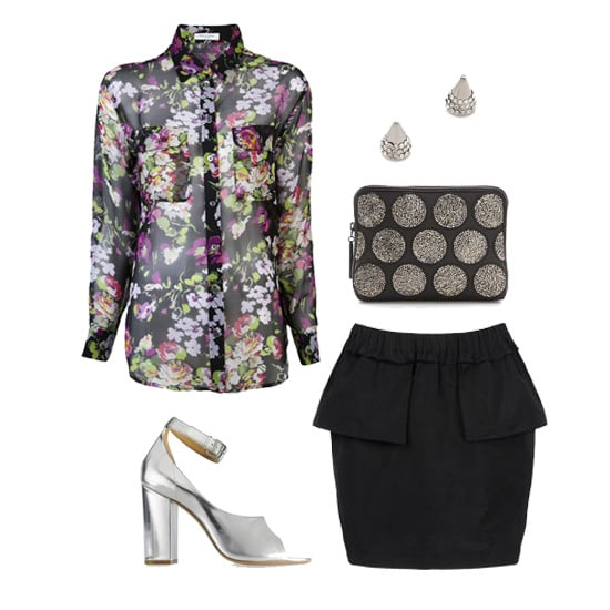 Put a spin on the girlie floral button-down blouse by making it party-ready with a black peplum miniskirt. Slip on a pair of metallic silver peep-toe heels and dainty (yet statement-making) pavé stud earrings, and then get ready to dance the night away. Shop this look:  Equipment Signature Blouse ($226) Vita Fede Titan Studs ($288) 3.1 Phillip Lim 31-Second Crystal Pouch ($650) Suno Miniskirt ($178, originally $295) 3.1 Phillip Lim High-Heeled Sandal ($665)