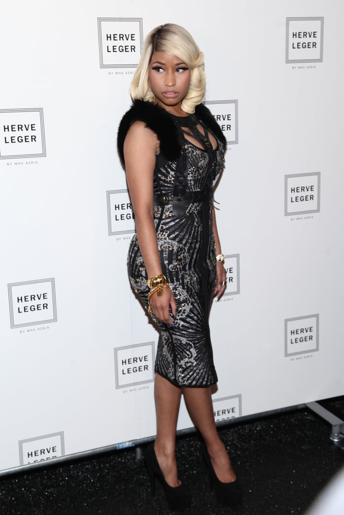 Nicki Minaj channeled retro glamour at the Hervé Léger Spring 2014 show.