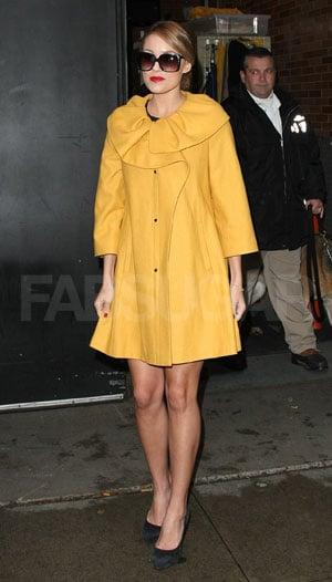 Lauren Conrad in Yellow Coat in New York City