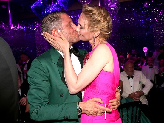 Uma Thurman Gets a Kiss from Lapo Elkann After He Wins amfAR Charity Auction Bid at Cannes