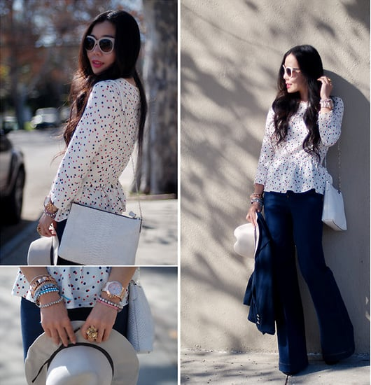 A peplum top gives flared denim a girlier spin for everyday. Photo courtesy of Lookbook.nu