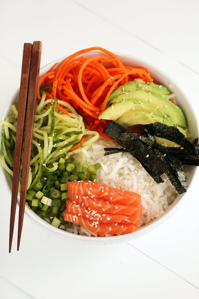 Spiralized Sushi Bowl With Salmon Sashimi and Ginger-Miso Dressing