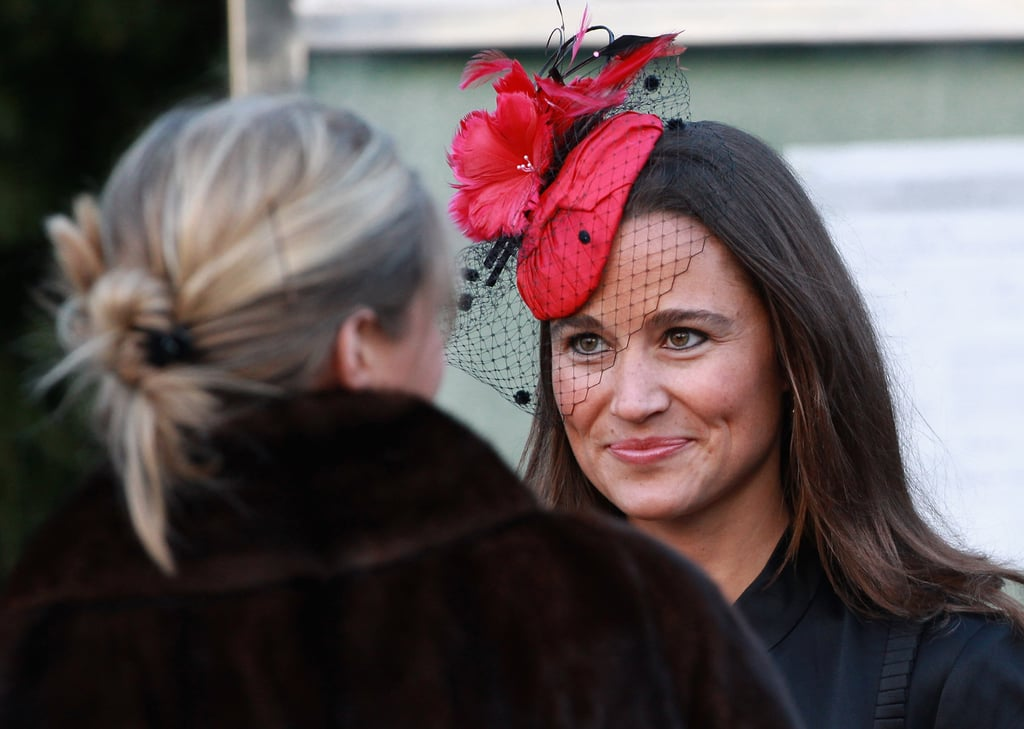 """Pippa attended the wedding of Lady Katie Percy and Patrick Valentine at  the """"Hogwarts"""" castle in February sporting her signature glow and racy red  fascinator."""